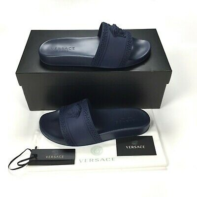 Versace Men's Palazzo Medusa Greek Key Logo Navy Slides Size 10