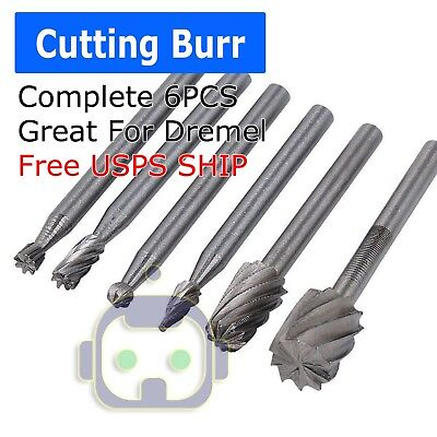 6PC Tungsten Carbide Cutting Burr Set Dremel Drill Bits Rotary Grinder Grinding