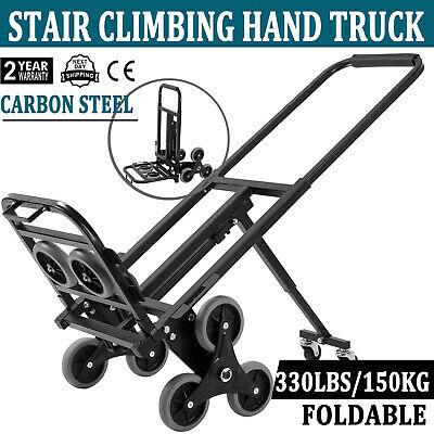 Heavy Duty Stair Climber Hand Truck Dolly Cart Trolley W Backup Wheels 330lbs