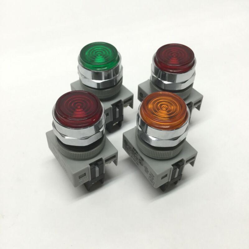 Lot of 4 Idec APW-199 22mm LED Pilot Indicator Illuminated Lights 24VAC/DC