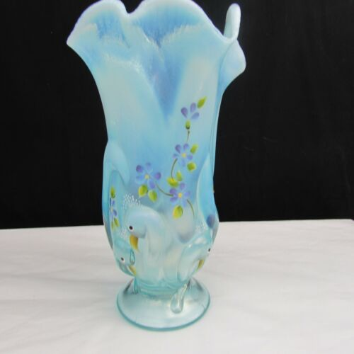 Fenton GSE SAMPLE Aqua Opalescent Peacock Hand Painted Stylized Vase W506