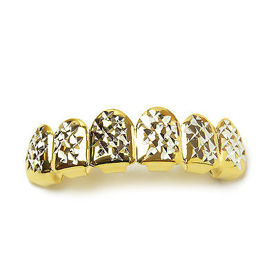 Men's Grillz Fashion 14K Gold Plated Diamond Cut Top Tooth Cap / L 001 G C2