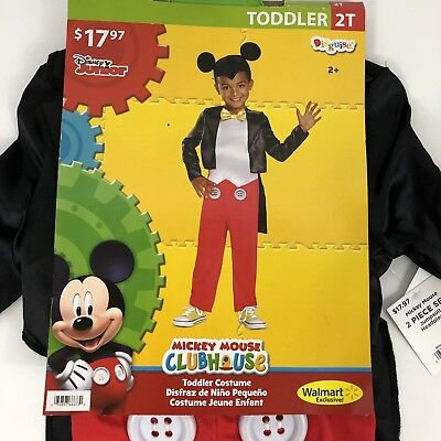 Mickey Mouse Clubhouse Costume 2 Piece Set Jumpsuit & Headpiece Toddler Size 2T (Toddlers Mickey Mouse Costume)