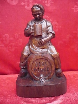 Beautiful, Old Wooden Figure __ Man on Barrel __ Each Quantity __ oak __ 30cm_