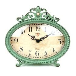 Creative Co-op Antiqued Pewter Mantel Clock Aqua