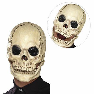 Adults White Cracked Skeleton Skull Mask Jaw Fancy Dress Halloween - Cracked Skull