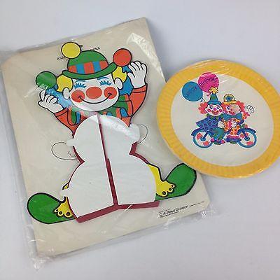 Vintage Circus Centerpieces (Vintage NOS Circus Clown Honeycomb Centerpiece Paper Plate Reeds 70s Party)