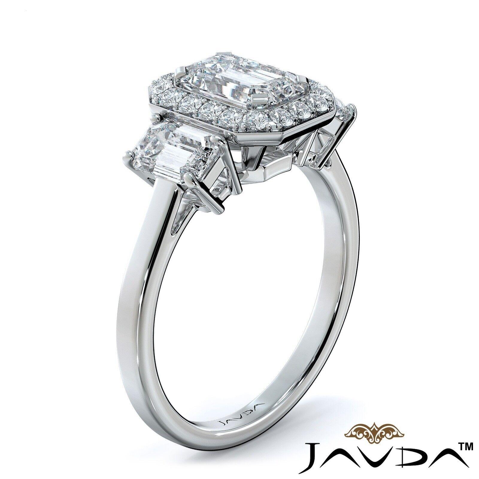 1.55ctw 3 Stone Halo Pave Emerald Diamond Engagement Ring GIA F-SI2 White Gold 1