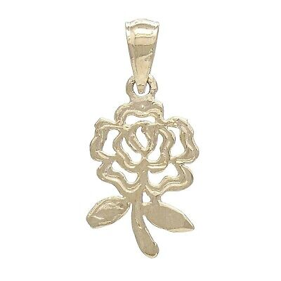 14k Yellow Gold Solid Diamond Cut Rose Flower Charm Pendant 1.1 grams 14k Yellow Gold Rose