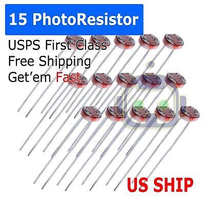 15pcs Photoresistor Ldr Cds 5mmlight-dependent Resistor Sensor Gl5516 Arduino At