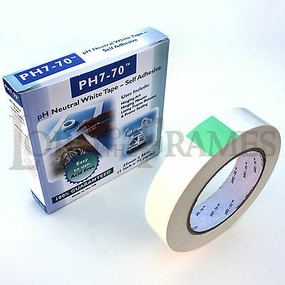 25mm x 66m PH7-70 Acid Free Tape Prints Frames Mounts Hinging - pH Neutral White