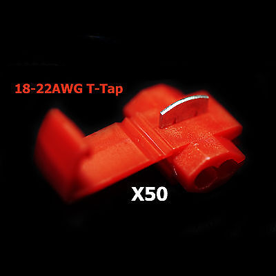 50x Red 22-18 Awg Scotch Lock T Tap Car Audio Electronics Connectors Terminals