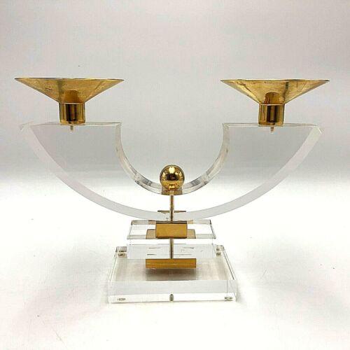 Mid Century Modern Lucite Brass Candle Holder