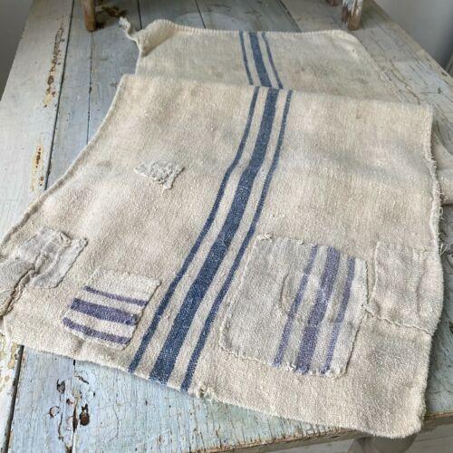 Antique INDIGO BLUE Striped Grainsack Linen Faded Distressed Worn Grain Sack