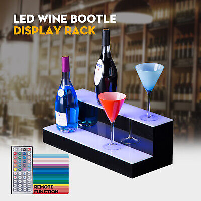 20 2 Step Tier Led Lighted Back Bar Glowing Liquor Bottle Display Shelf Stand