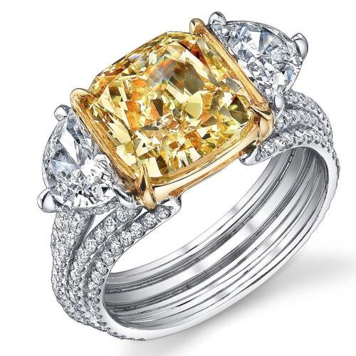 GIA 5.00 CT Fancy Yellow Cushion & Half-moon Diamond Engagement Ring Platinum