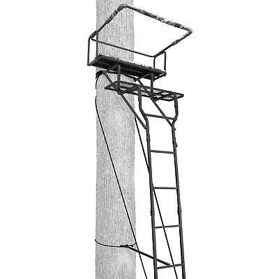 TWO MAN TREE LADDER Stand 2 Person 15' Outdoor Trail Bench Padded Seat Support  2 Person Ladder Stand