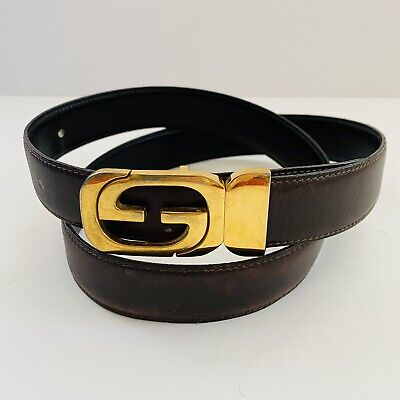 VINTAGE GUCCI ITALY MENS CLASSIC GG GOLD HARDWARE BROWN LEATHER BELT SIZE 36