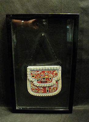 RARE FRAMED ANTIQUE CHINESE SILK PURSE w/ FORBIDDEN STITCH EMBROIDERY NEEDLEWORK