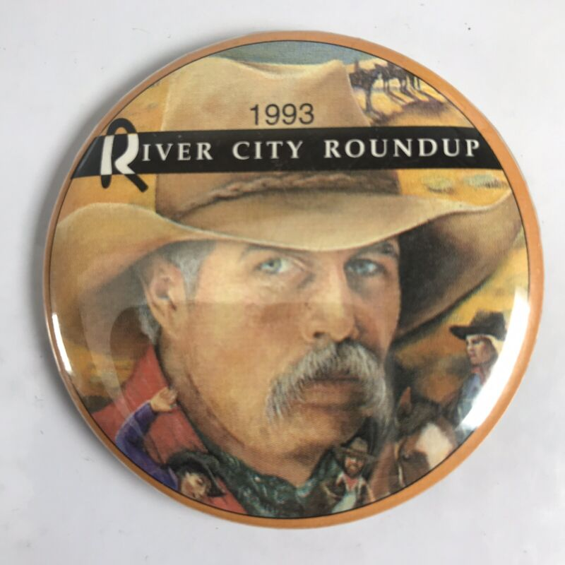 1993 River City Roundup RCR Omaha Pinback Button Pin Rodeo Admission