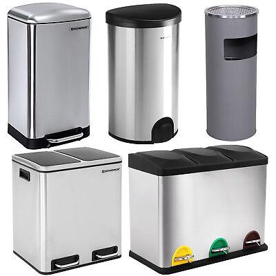 Mülleimer Abfalleimer Edelstahl Mülltrenner Recycling Küche Papierkorb Treteimer