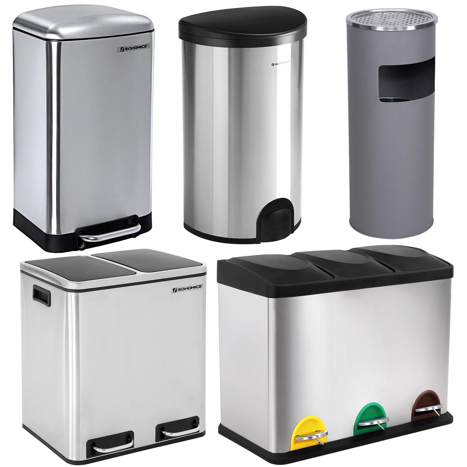 Abfalleimer Mülleimer Papierkorb Edelstahl Mülltrenner Recycling Treteimer Küche