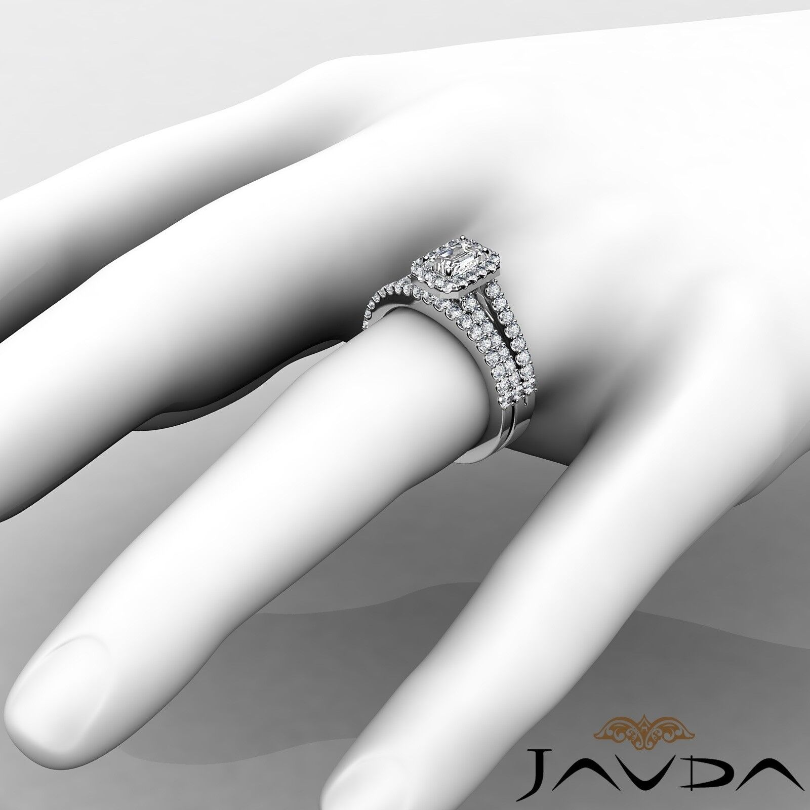 1.75ctw Halo Sidestone Bridal Emerald Diamond Engagement Ring GIA H-VS2 W Gold 4