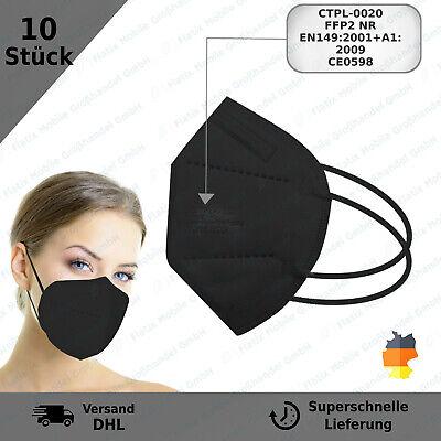 10x FFP2 Maske Mundschutz 5 Lagig CE PRÜFSTELLE 0598 FFP2 Schutzmaske - Schwarz