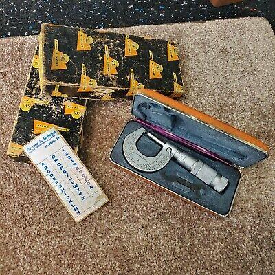 Mintage Brown Sharpe No.1 Slant Line Micrometer 0-1 By 0001 Wcase Box