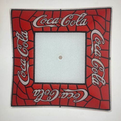 """Vintage Coca Cola Stained Glass Square Light Lamp Shade 14"""" *Great Condition*"""