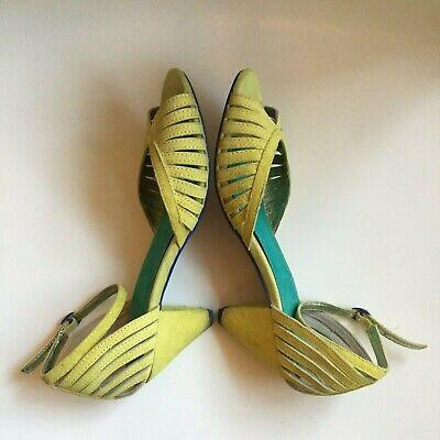 SEYCHELLES Heritage Lime Green Peep Toe Heels w Ankle Strap 8
