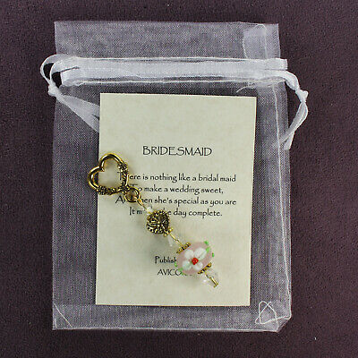 BRIDESMAID CHARM Amulet Wedding Bridal Love Flower Gold Heart Crystals Lampwork