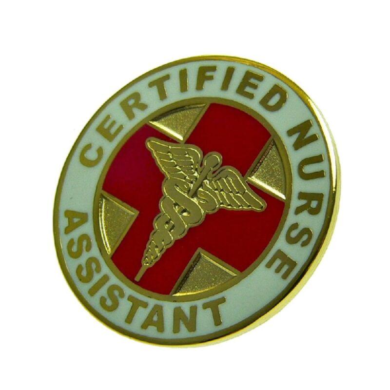 CNA Certified Nurse Assistant Lapel Pin Red Cross Gold Caduceus Medical Hospital