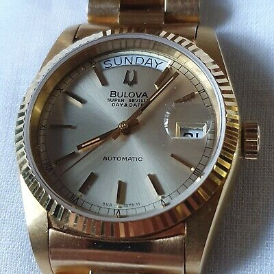 Vintage Bulova Super Seville Day/Date President Gold Dial Men Watch Superb NOS