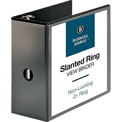 Business Source 28451 Black View Binder - 5 D-ring Holds 1100 Sheets
