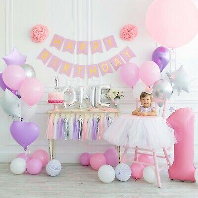 Birthday Decoration Items (CUTE 1st Birthday Decorations Party Supplies + (TUTU )+ (CROWN) + (71+)