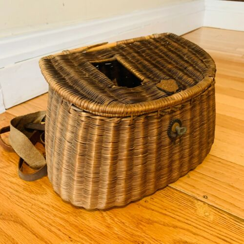 Antique FLY FISHING BASKET Wicker w/ Leather Straps & Tooling VINTAGE Creel