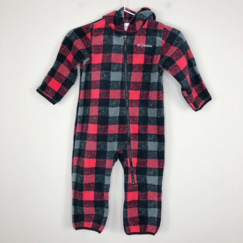 Columbia Plaid Warm Fleece Zip Hooded Bunting One Piece Body Suit 18-24 Months