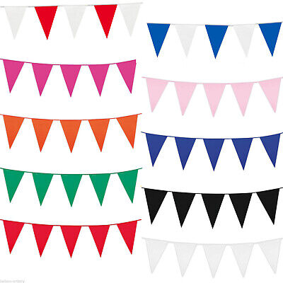 10m Colour Bunting 20 Flag Red White Blue 32 Ft Rainbow Home Mix Multi Pride