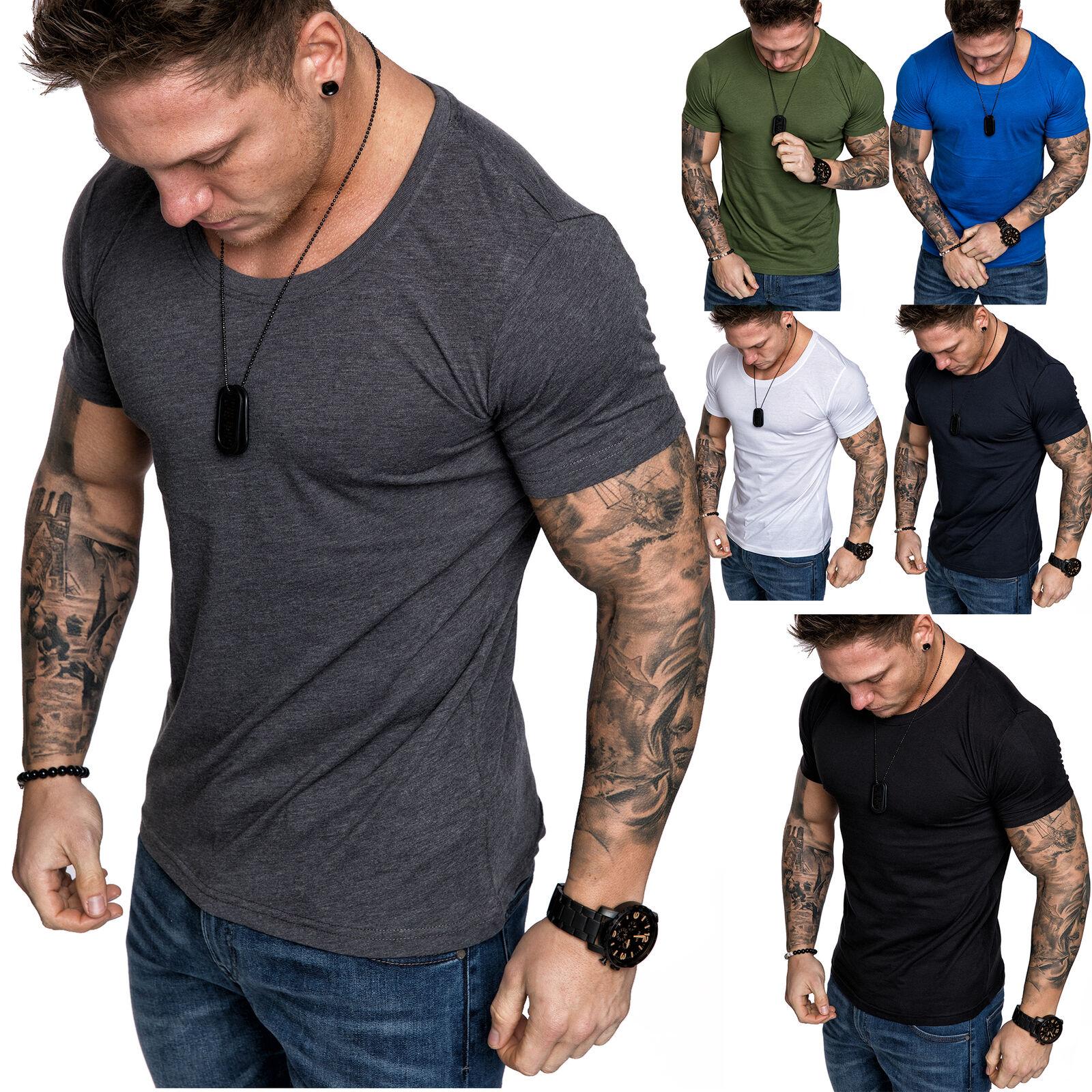 Oversize Herren Slim-Fit Crew Neck Basic T-Shirt Rundhals-Ausschnitt 1-0007