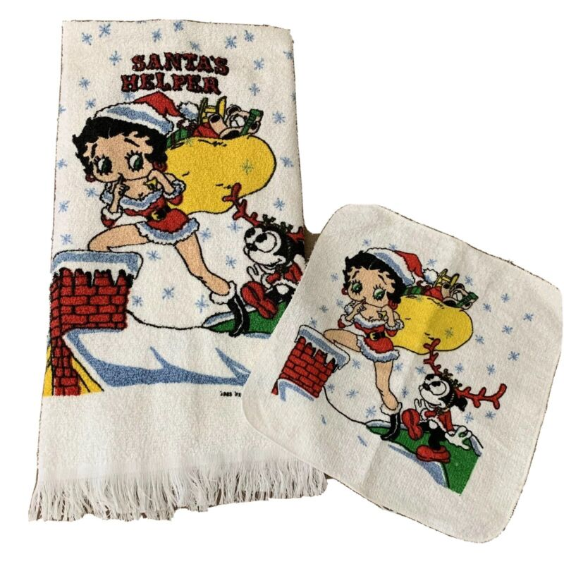 """Vintage Betty Boop Bath Towel & Wash Cloth """"Santa"""