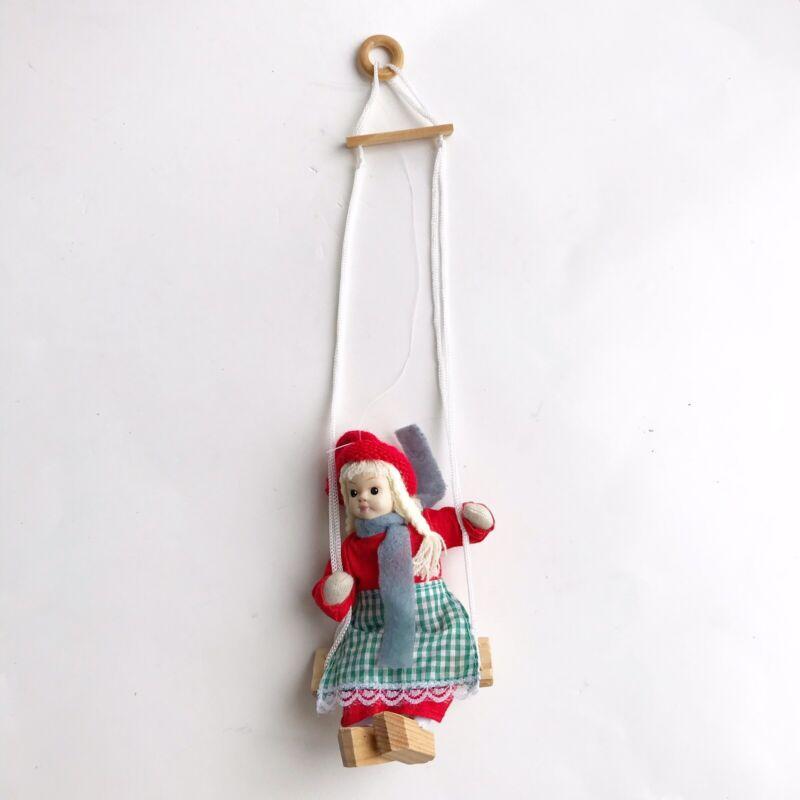 Scandinavian Doll Girl On Swing Wooden Shoes Clogs Decor Nursery Sweden Holland