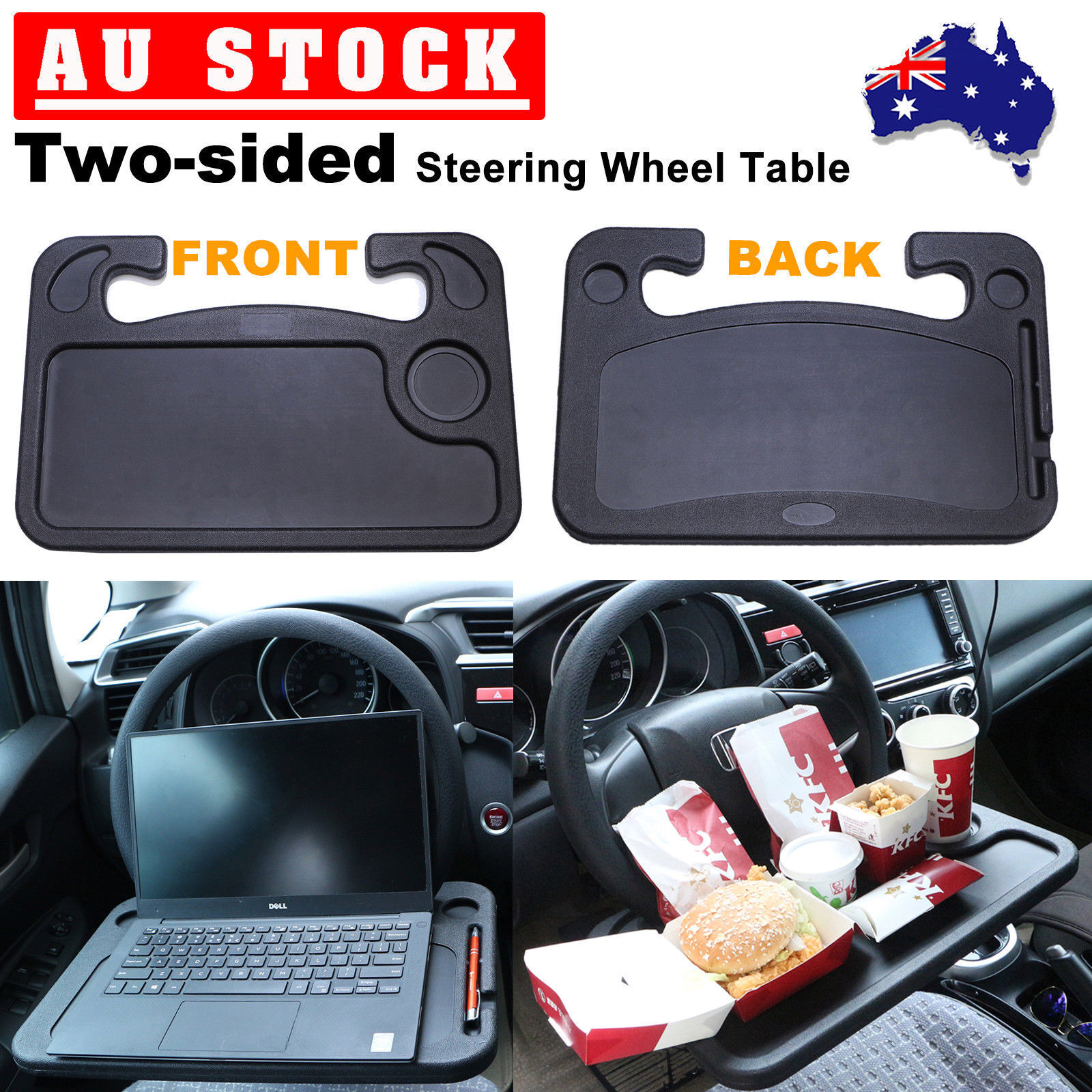 ABS Car Steering Wheel Tray Table Laptop Stand Work Desk Drink Holder Clip