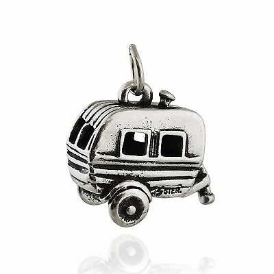 Travel Trailer Charm - 925 Sterling Silver - 3D Camping Camper RV Woods NEW