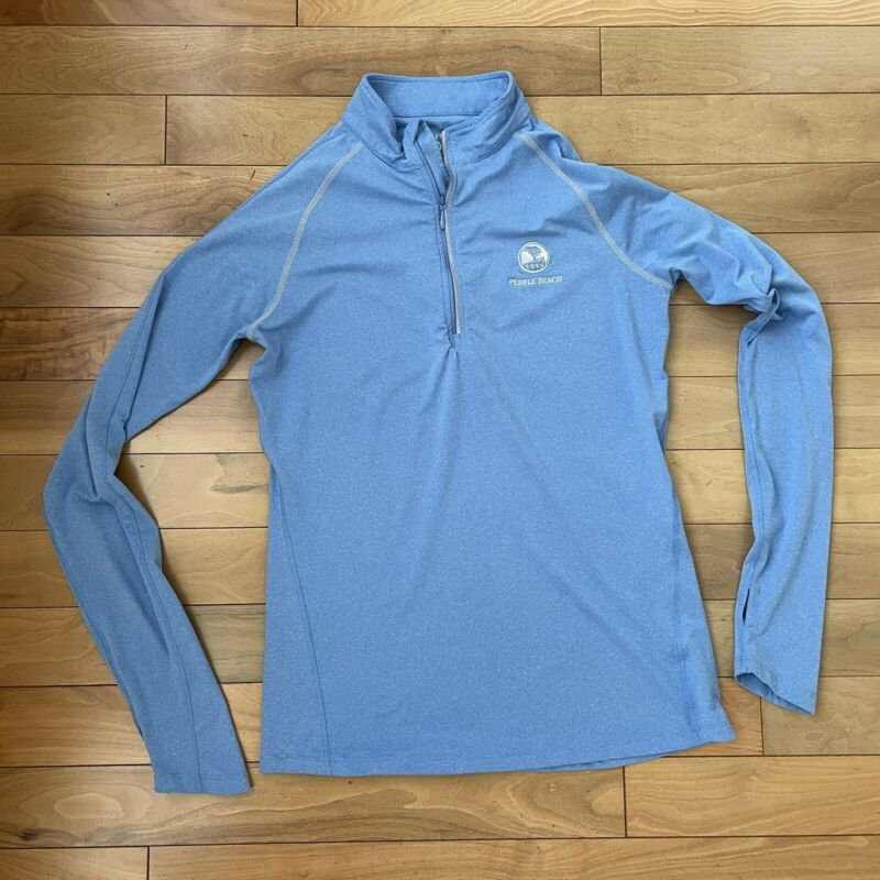Quarter Zip Pebble Beach Size L Golf Jacket Womens Blue Mock Neck Thumb Holes