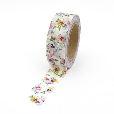Washi Tape Floral Pansy Multi Coloured Flowers 15mmx10m