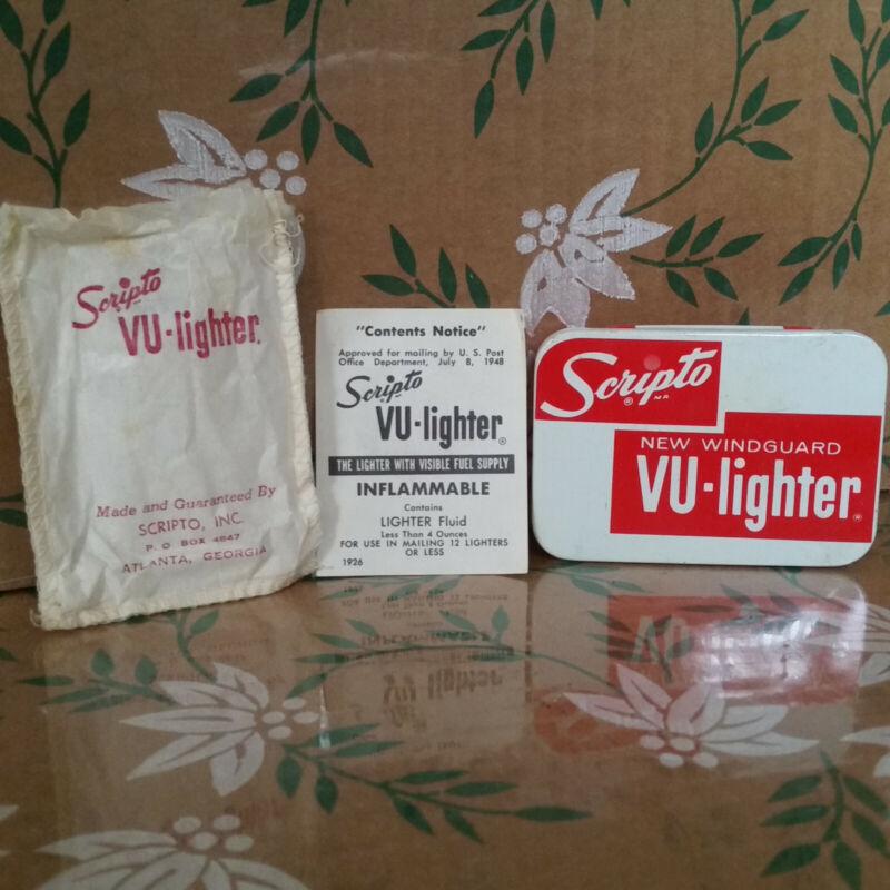 Vintage Scripto Vu-Lighter Metal Tin Case Dust Bag Pamphlet Set (No lighter)