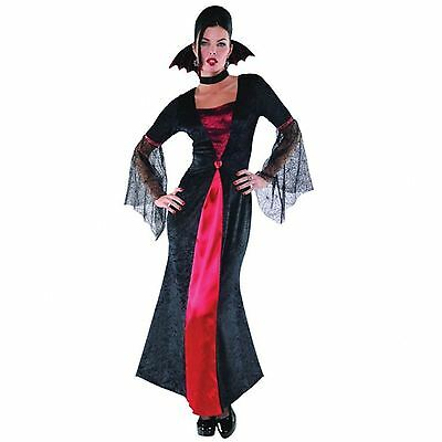 Neu Damen Luxus Rot Robe Vampir Hexe Wicca Gothik Kostüm 8-20 Übergröße (Rote Roben Kostüm)