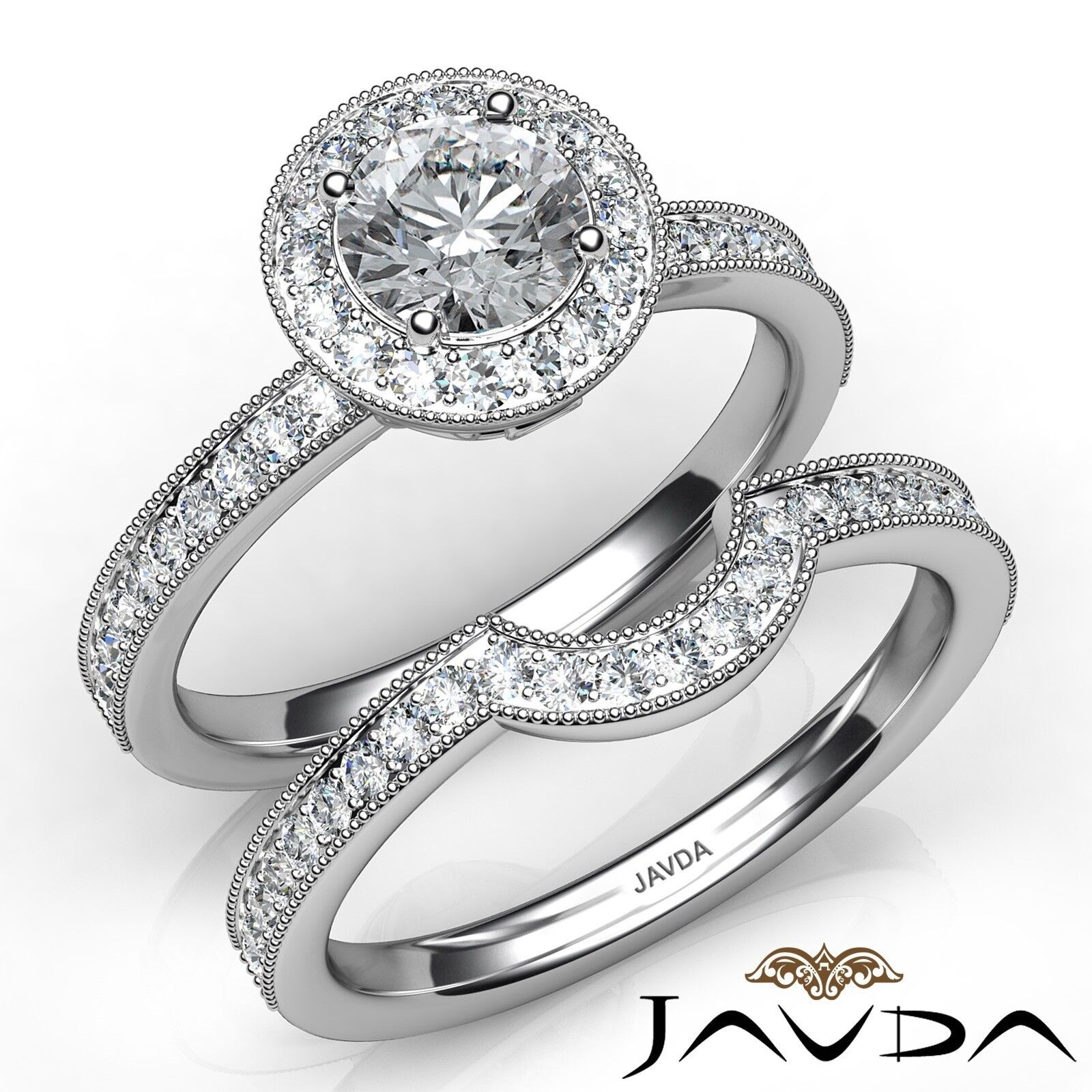 1.57ctw Halo Pave Milgrain Bridal Round Diamond Engagement Ring GIA F-VS2 Gold
