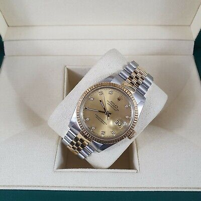 Mens Steel & Gold Rolex Datejust with Factory Diamond Dial Box & Papers